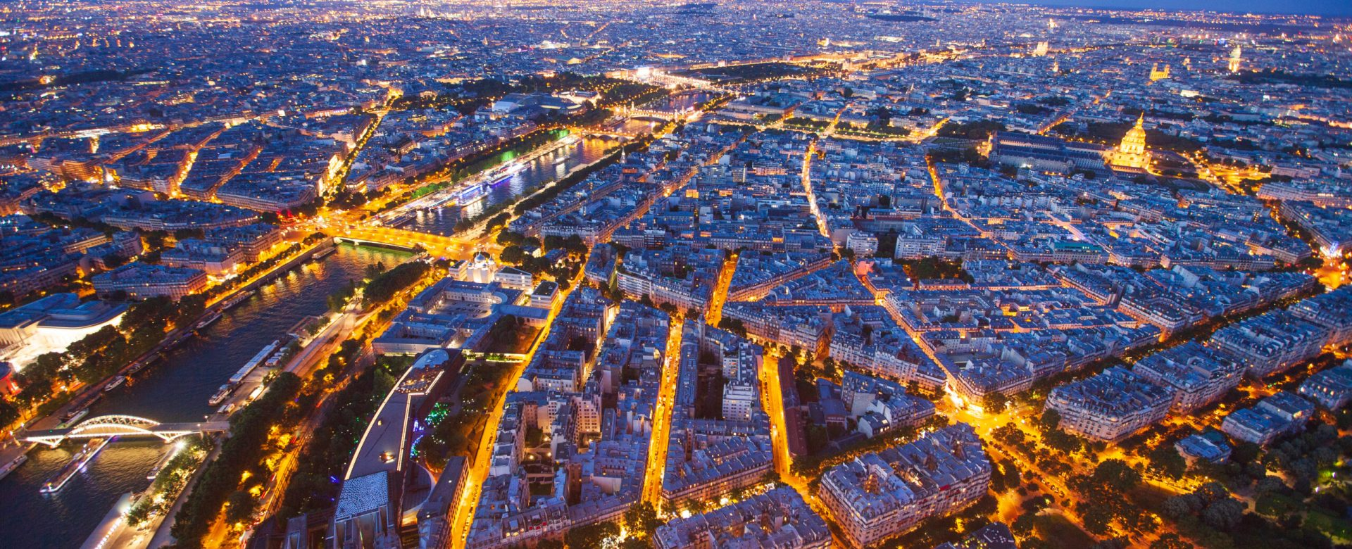 Paris at night. View from Eiffel tower at night